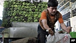 A man unloads sacks of agricultural products in a public market in suburban Quezon City north of Manila, Philippines, March 10, 2011
