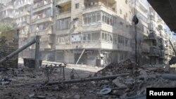 Последствия бомбардировок в Алеппо, Сирия