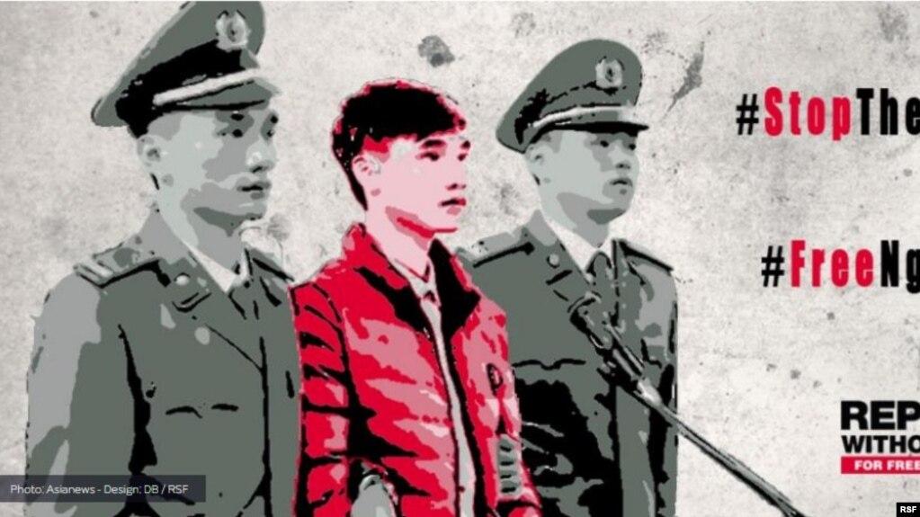 """Nguyễn Văn Hóa (giữa) bị kết án 7 năm tù vì tội """"tuyên truyền chống phá nhà nước"""" Việt Nam. Blogger này đã tuyệt thực 2 tuần để phản đối những ngược đãi trong tù đối với mình. (Photo: Asianews - Design: DB/RSF)"""