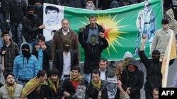 Kürt göstericilerin İstanbul'da düzenlediği bir eylem