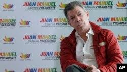 El presidente colombiano Juan Manuel Santos en una mitin en Bogotá.