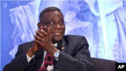 Ghana President John Atta Mills attending a symposium at the Ronald Reagan Building in Washington, May 18, 2012.