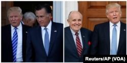 ຮູບພາບສະແດງໃຫ້ເຫັນ ປະທານາທິບໍດີທີ່ຖືກເລືອກໃໝ່ ທ່ານ Donald Trump ຢືນຢູ່ກັບອະດີດ ຜູ້ປົກຄອງລັດ Massschusetts ທ່ານ Mitt Romney ແລະອະດີດເຈົ້າຄອງນະຄອນ New York ທ່ານ Rudy Giuliani.