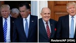 A dwat: Prezidan eli ameriken an, Donald Trump, ak ansyen majistra kominal New York la, Rudy Giuliani;- agoch : D. Trump ak ansyen Gouvènè Eta Massachusetts la, Mitt Romney.