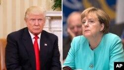 도널드 트럼프 미국 대통령(왼쪽)과 앙겔라 메르켈 독일 총리.