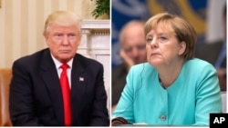Donald Trump et Angela Merkel.