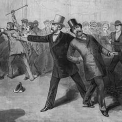 An 1881 print of the shooting of President James Garfield