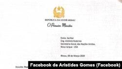 Carta de Aristides Gomes ao SG da ONU