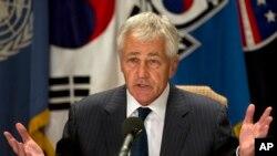 한국을 방문 중인 척 헤이글 미국 국방장관이 1일 서울에서 가진 기자회견에서 발언하고 있다.