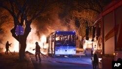 Пожежа після вибуху в Анкарі