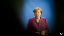 German Chancellor Angela Merkel is seen at the chancellery in Berlin, April 25, 2018. Merkel will be in Washington for a one-day working visit Friday.