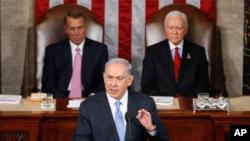PM Israel Benjamin Netanyahu memberikan pidato mengenai ancaman nuklir Iran di hadapan Kongres AS, Selasa (3/3).