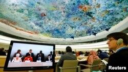 지난 6월 스위스 제네바의 유엔 유럽본부에서 유엔 인권이사회 제26차 정기이사회가 열리고 있다. (자료사진)