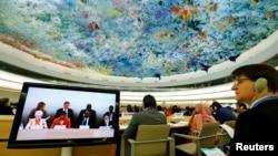 10일 스위스 제네바의 유엔 유럽본부에서 개막한 유엔 인권이사회 제26차 정기이사회에서 참석자들이 나비 필레이 유엔 인권최고대표의 연설을 듣고 있다.