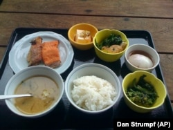 Japanese breakfast may include rice, noodles, fish and miso soup.