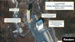 The Sohae Satellite Launching Station launch pad features what researchers of Beyond Parallel describe as showing the partly rebuilt rocket transfer structure, in this satellite image taken over Tongchang-ri, North Korea.