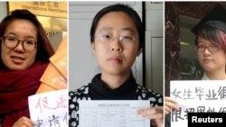 Tiga di antara lima orang aktivis perempuan yang ditahan pemerintah China menjelang hari Perempuan Internasional bulan Maret lalu, dari kiri: Wei Tingting (26), Wang Man (32), dan Zheng Churan (25). (Foto: dok/REUTERS).