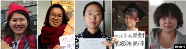 5位反性骚扰活动人士:(左起)李婷婷、韦婷婷、王曼郑楚然和武嵘嵘