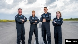 Inspiration4 crew of Chris Sembroski, Sian Proctor, Jared Isaacman and Hayley Arceneaux is seen in this photo obtained by Reuters, Sept. 15, 2021.
