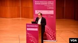 第二屆國際人類基因組編輯峰會籌委會主席、諾貝爾醫學獎得主巴爾的摩。(美國之音湯惠芸拍攝)