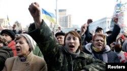 21일 우크라이나 키예프의 독립광장에 반정부 시위대가 집결했다.