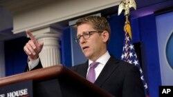 23일 제이 카니 미 백악관 대변인이 백악관에서 정례브리핑을 하고 있다.