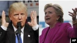 11月3日民主黨總統候選人希拉里克林頓(右)和共和黨總統候選人唐納德川普(左)都在不同州做最後衝刺。