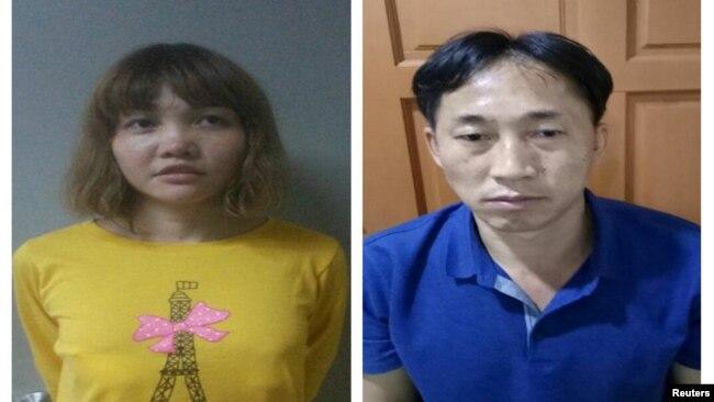 Nghi phạm người Việt Nam Đoàn Thị Hương (trái) và nghi phạm người Bắc Triều Tiên (phải) trong vụ ám sát ông Kim Jong Nam tại Malaysia.