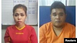 Dua tersangka terkait pembunuhan Kim Jong-nam di Kuala Lumpur, Malaysia: Siti Aisyah (Indonesia, kiri) dan Muhammad Farid Bin Jallaludin (Malaysia, kanan).