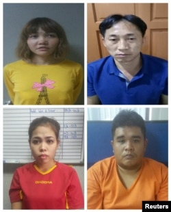 Suspects Vietnamese Doan Thi Huong (top L), North Korean Ri Jong Chol (top R), Indonesian Siti Aisyah (bottom L) and Malaysian Muhammad Farid Bin Jallaludin (bottom R) are seen in this combination of undated handouts released by Malaysia.