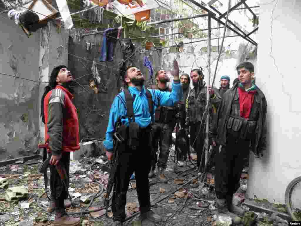 Free Syrian Army fighters in the Al-Khalidiya neighborhood of Homs, March 3, 2013.
