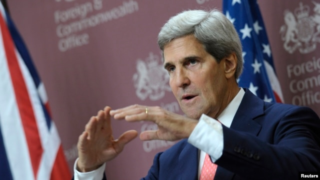 U.S. Secretary of State John Kerry speaks during a news conference with Britain's Foreign Minister William Hague at the Foreign and Commonwealth Office in London, Sept. 9, 2013.