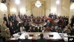 Aspecto da sessão de quinta-feira, da audiência no Congresso sobre o radicalismo islâmico