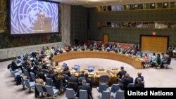 اقوامِ متحدہ کی سلامتی کونسل کے اجلاس کا ایک منظر (فائل)