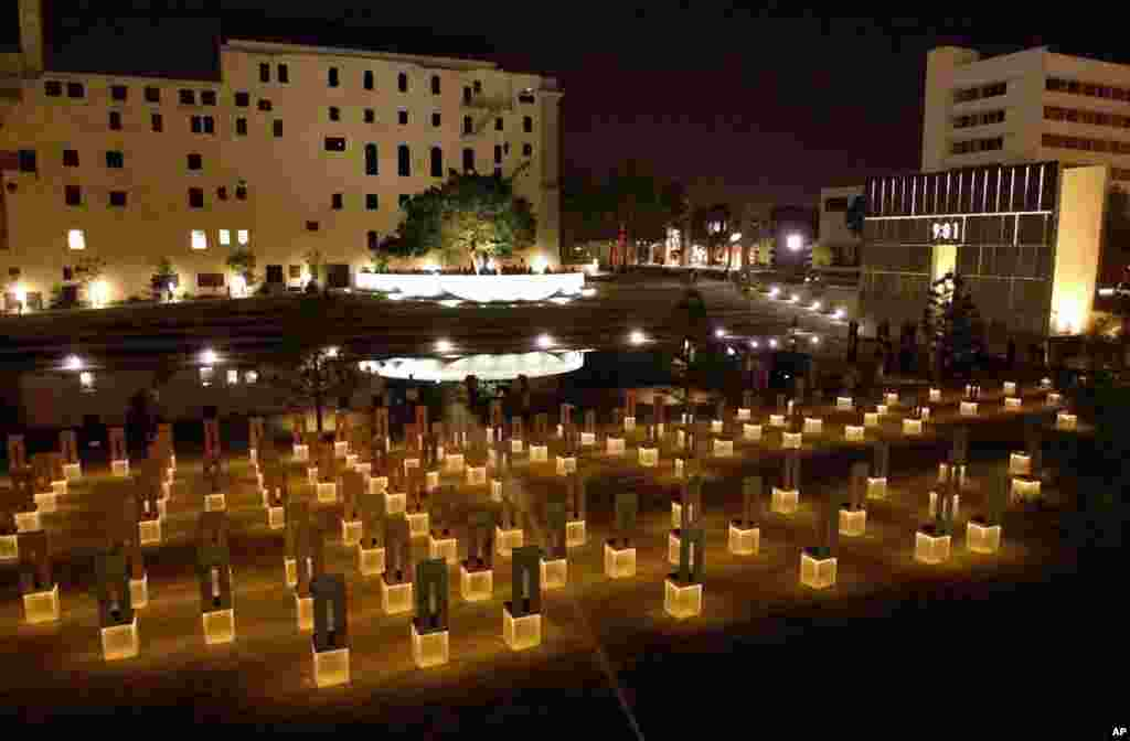 FILE - In this May 3, 2001 file photo, a view from the plaza overlooking the Oklahoma City National Memorial site is seen. There are 168 chairs, one for each of the victims killed in the bombing of the Alfred P. Murrah Federal Building April 19, 1995.