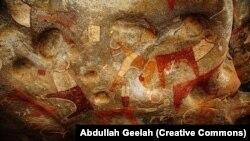 Une des parois du site préhistorique de Laas Geel, située dans le Somaliland.