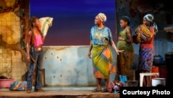 """From left, Zainab Jah, Saycon Sengbloh, Pascale Armand, and Lupita Nyong'o in a scene from Danai Gurira's """"Eclipsed,"""" directed by Liesl Tommy. (Photo courtesy of Joan Marcus)"""