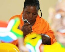 Baloyi's employees make makarapas out of recycled plastic