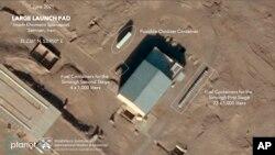 Suasana di Pelabuhan Luar Angkasa Imam Khomeini di provinsi Semnan Iran pada 1 Juni 2021. Planet Labs Inc., James Martin Center for Nonproliferation Studies at Middlebury Institute of International Studies via AP)