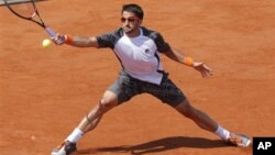 Janko Tipsarevic of Serbia at the French Open tennis tournament