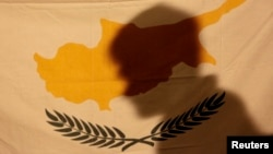 A protester casts his shadow onto a Cypriot flag during an anti-bailout rally outside the presidential palace in Nicosia March 24 , 2013