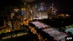 香港每年的六四燭光晚會(資料圖片)