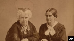 FILE - Elizabeth Cady Stanton (left) and Susan B. Anthony (right), Albumen silver print, by Napoleon Sarony. The new monument is located at what had been known as the Sewall-Belmont House, which the National Woman's Party began using as its headquarters in 1929.