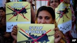 巴基斯坦示威者抗議美國無人機發動襲擊(資料圖片)