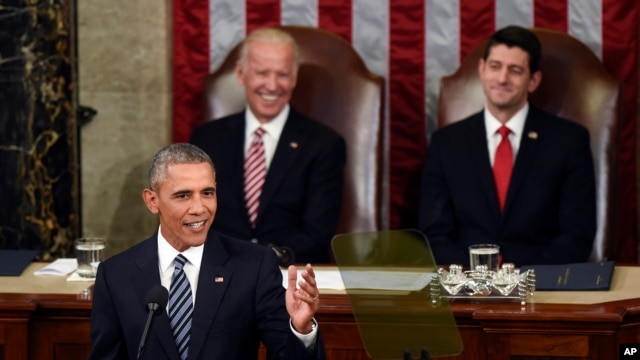 Vice President Joe Biden and House Speaker Paul Ryan listen as President Obama gives his State of the Union address, Jan. 12, 2016.