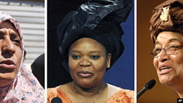 Africa's first democratically elected female president, a Liberian peace activist and a woman who stood up to Yemen's authoritarian regime won the Nobel Peace Prize on Friday Oct. 7, 2011 for their work to secure women's rights, which the prize committee