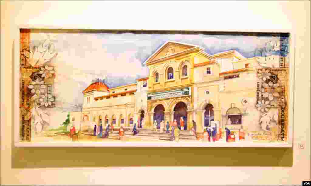کراچی: ایک آرٹس کا بنائے ہوئے فن پارے میں کراچی ریلوے کینٹ اسٹیشن کو دکھایاگیاہے