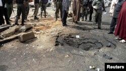 Le site d'un attentat à la bombe du Boko Haram, qui avait coûté la vie à quatre personnes au Nigéria