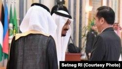 Presiden Jokowi dan Raja Salman di KTT Arab Islam Amerika di Riyadh, Arab Saudi.