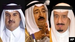 왼쪽부터 셰이크 타밈 카타르 국왕, 셰이크 사바 알아흐마드 알사바 쿠웨이트 국왕, 살만 빈 압둘아지즈 알 사우드 사우디아라비아 국왕.